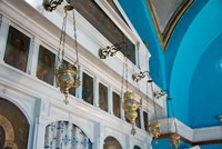 Greece, Cyclades, Mykonos, Hora Wall icons and oil lamps of a church Fine-Art Print
