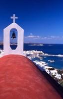 Greek Orthodox Church and Harbor in Mykonos, Greece Fine-Art Print