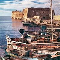 Greece, Crete, Fishing boats, Rossa al Mare Fine-Art Print