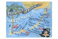 Florida Keys Beach Map Fine-Art Print