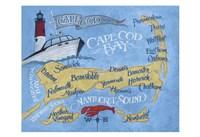Cape Cod Beach Map Fine-Art Print
