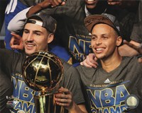 Klay Thompson & Stephen Curry with the NBA Championship Trophy Game 6 of the 2015 NBA Finals Fine-Art Print