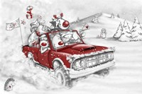 Reindeer And All In The Red Truck Fine-Art Print