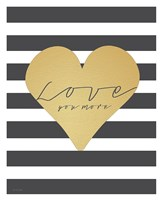 Faux Gold Love You More - Stripes Fine-Art Print