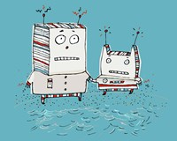 Robots On Beach Fine-Art Print