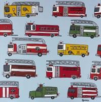 Fire Trucks Blue Fine-Art Print