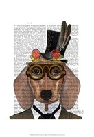 Dachshund with Top Hat and Goggles Fine-Art Print
