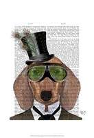 Dachshund Green Goggles Top Hat Fine-Art Print
