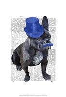 French Bulldog With Blue Top Hat and Moustache Fine-Art Print