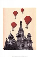 St Basil's Cathedral and Red Hot Air Balloons Fine-Art Print