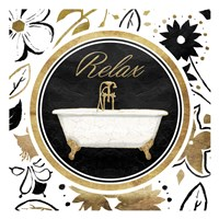 Relax Gold Floral Bath Fine-Art Print