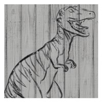 Dino On Wood I Fine-Art Print