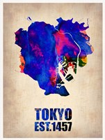 Tokyo Watercolor Map 1 Fine-Art Print