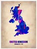 United Kingdom Watercolor Map Fine-Art Print