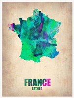 France Watercolor Map Fine-Art Print
