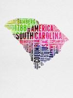 South Carolina Watercolor Word Cloud Fine-Art Print