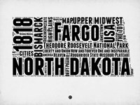 North Dakota Word Cloud 2 Fine-Art Print