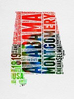 Alabama Watercolor Word Cloud Fine-Art Print
