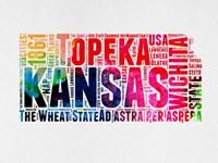 Kansas Watercolor Word Cloud Fine-Art Print