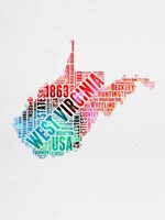 West Virginia Watercolor Word Cloud Fine-Art Print