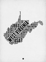 West Virginia Word Cloud 2 Fine-Art Print