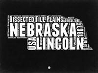 Nebraska Black and White Map Fine-Art Print