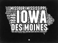Iowa Black and White Map Fine-Art Print