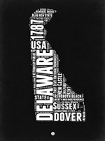 Delaware Black and White Map Fine-Art Print