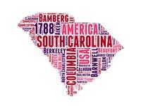 South Carolina Word Cloud Map Fine-Art Print