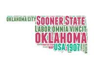 Oklahoma Word Cloud Map Fine-Art Print