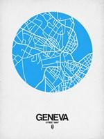 Geneva Street Map Blue Fine-Art Print