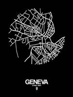 Geneva Street Map Black Fine-Art Print