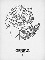 Geneva Street Map White Fine-Art Print