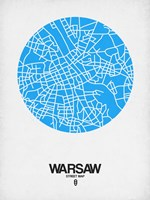 Warsaw Street Map Blue Fine-Art Print