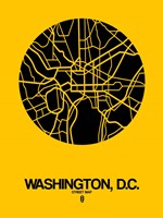 Washington DC  Street Map Yellow Fine-Art Print