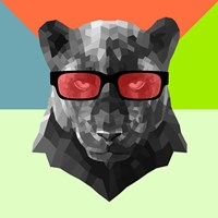 Party Panther in Red Glasses Fine-Art Print
