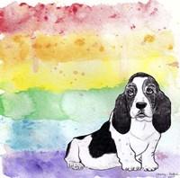 Rainbow Basset Hound Fine-Art Print