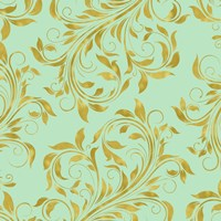 Golden Mint Damask I Fine-Art Print