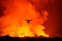 Radio Contolled Drone flying over Eruption, Holuhraun Fissure, Bardarbunga Volcano, Iceland. Fine-Art Print