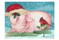Christmas Pig And Friend Fine-Art Print