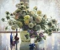 Chrysanthemums on a Glass Table Fine-Art Print