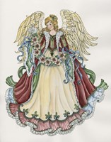 Angel With Ribbon Of Pointsettias Fine-Art Print