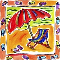 Beach Chair, Umbrella, Flip Flops Fine-Art Print