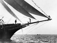 Ship Crewmen Standing on the Bowsprit, 1923 Fine-Art Print