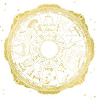 Night Sky Zodiac White and Gold Fine-Art Print