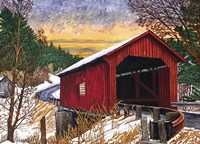 Sunset At The Old Bridge, Vermont Fine-Art Print