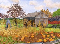 Pumpkins And Cornstalks Fine-Art Print