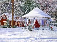 Gazebo At Ellicottville, Winter Fine-Art Print