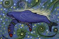 Humpback Swimming with Yellow Bubbles Fine-Art Print