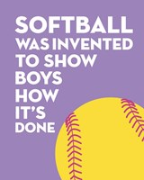 Softball Quote - Yellow on Purple 2 Fine-Art Print
